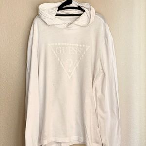 MENS GUESS HOODED WHITE T